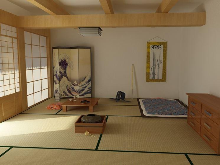 Stanza arredata in stile etnico giapponese