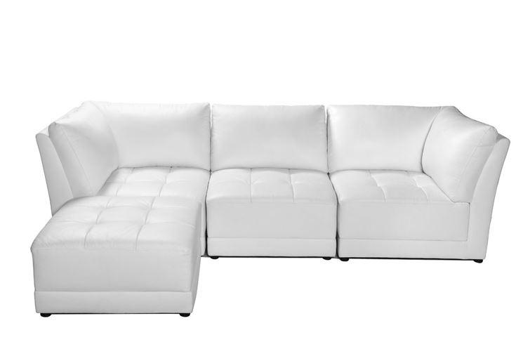 divano componibile in pelle color bianco