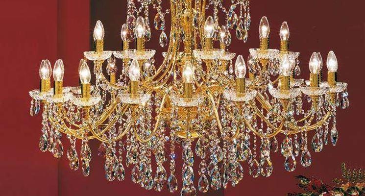 lampadario a gocce oro
