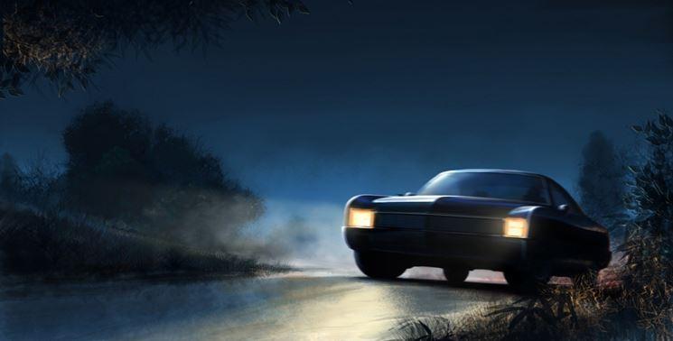 auto notte luci
