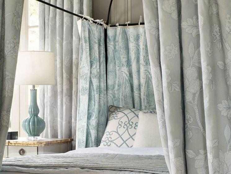 tenda a con Tessuto in lino stampato Wind Song di Zimmer + Rohde Collezione Carlyle