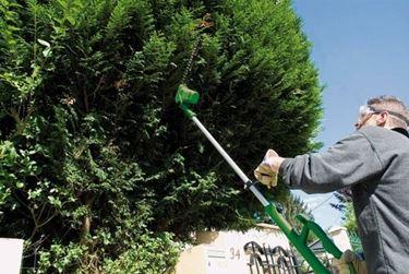 Un operatore che pota un arbusto con un tagliasiepi elettrico di tipo telescopico