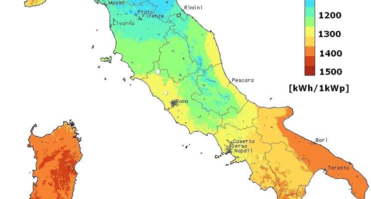 Irraggiamento solare in Italia, regione per regione.