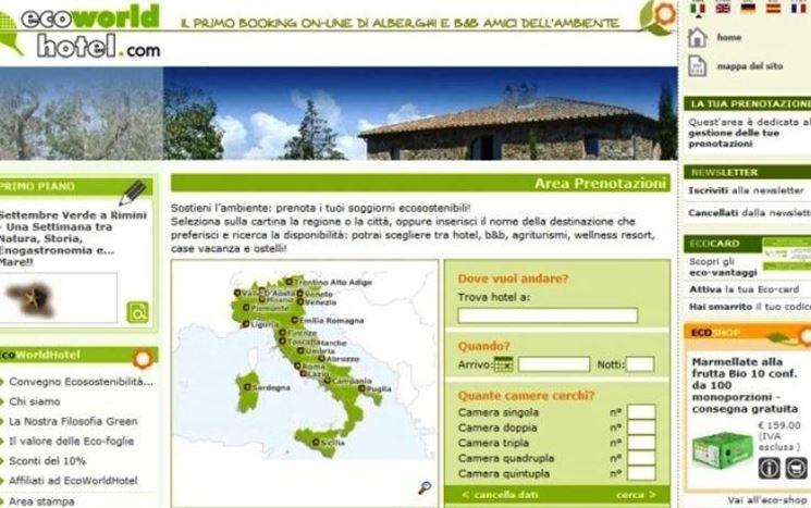 Pagina di ricerca degli eco alberghi del sito EcoWorlHotel.org.