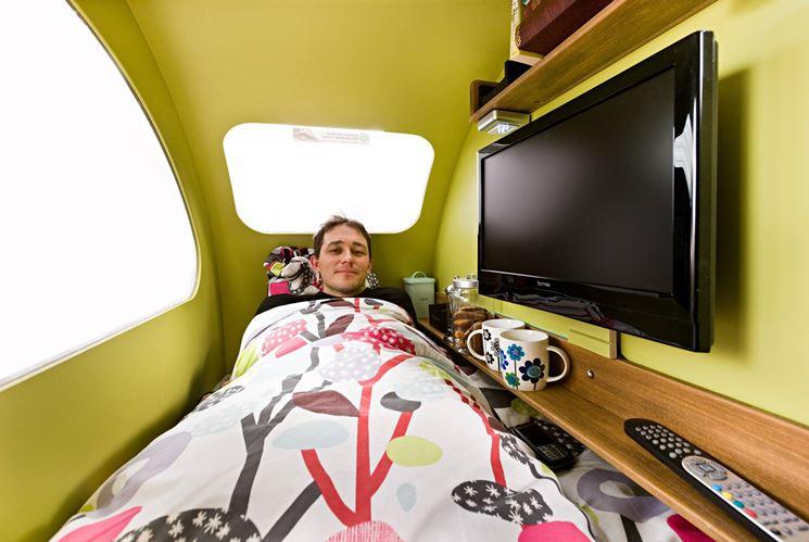 Foto interno camper con televisione