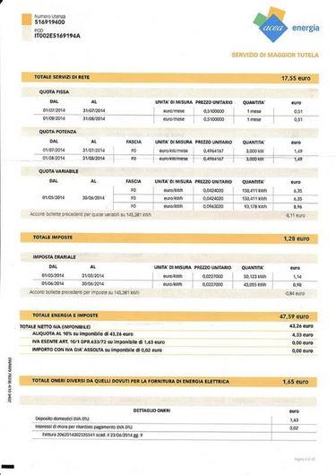 Bolletta elettrica totale servizi di rete