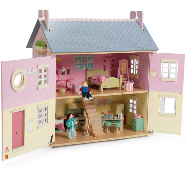 Casa delle bambole in legno: le finestre e i mobili