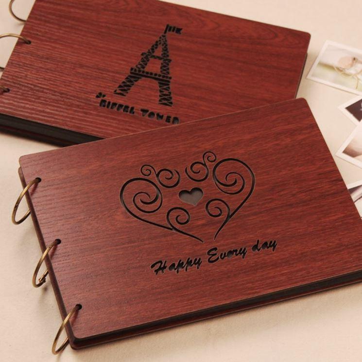 album fotografico che sembra di legno