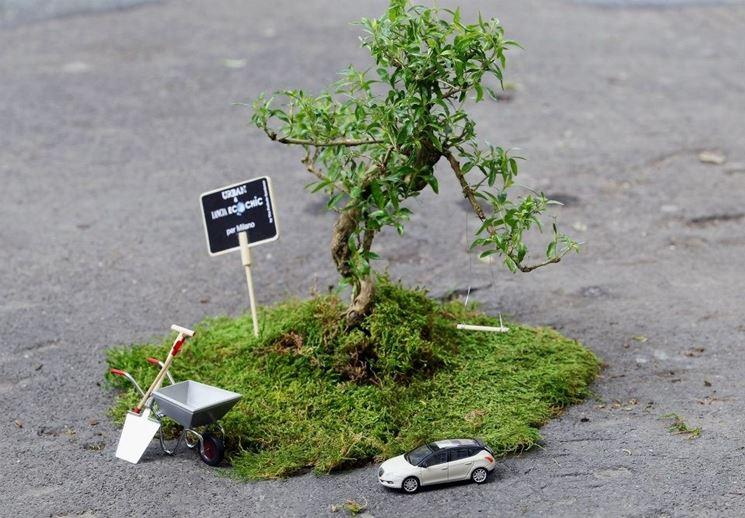 Risultato di una micro azione di guerrilla gardening