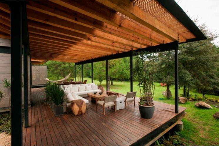 Una veranda in legno