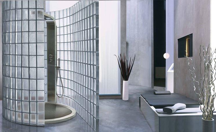 Mattoni in vetro per doccia