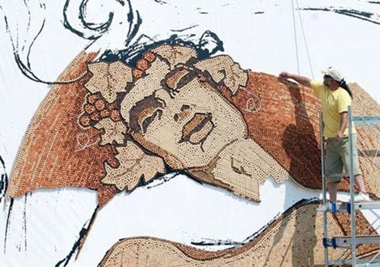 Mosaico realizzato con tappi di sughero