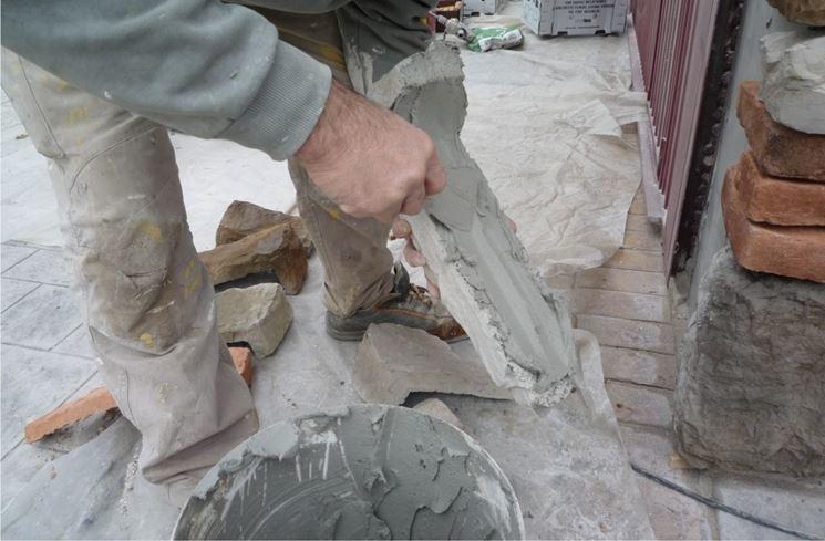 Posa della pietra ricostruita