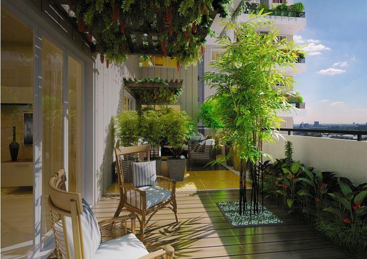 terrazzo arredato e fiorito