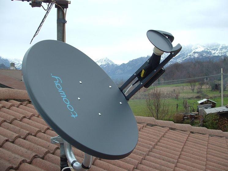 Antenna parabolica montata su un tetto