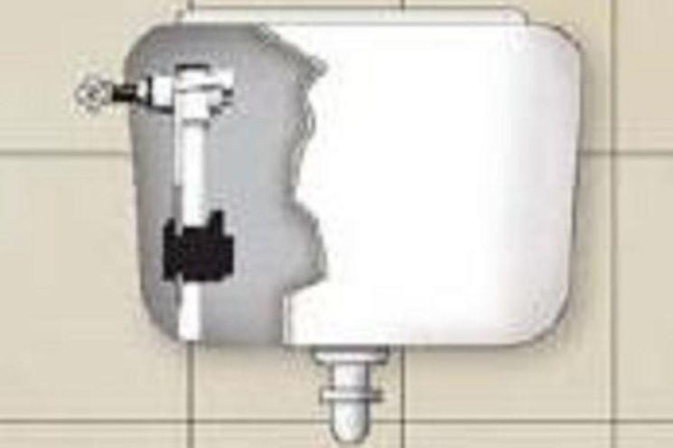 Cassetta di scarico del WC con veduta interna parte ingresso acqua