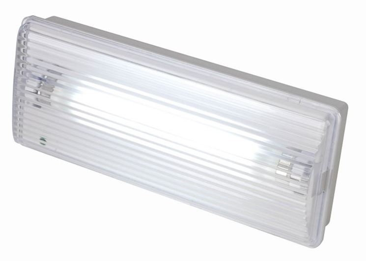 Tipico apparecchio per l'illuminazione di sicurezza.