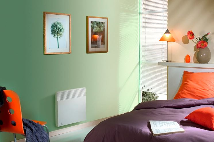 termoconvettore elettrico in camera da letto