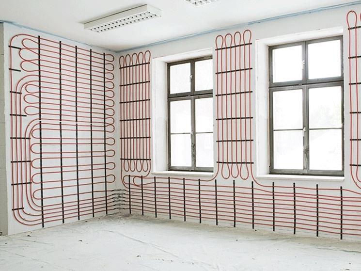 L'immagine mostra la struttura classica del riscaldamento a parete