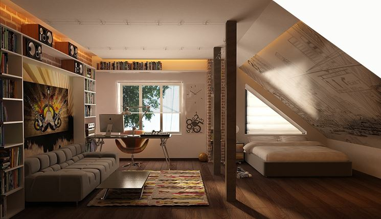 Una camera da letto in mansarda è l'idea originale che dà un tocco inconfondibile a tutta la casa