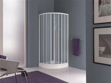 Un box doccia angolare in pvc a soffietto