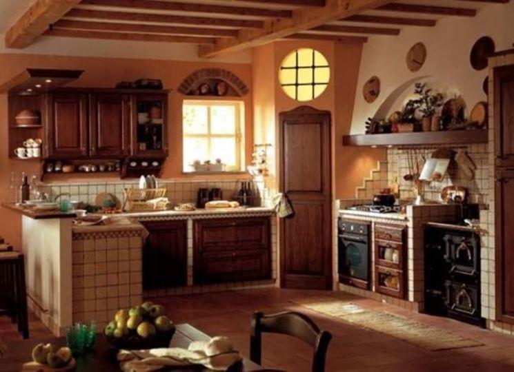 cucina in arte povera in muratura