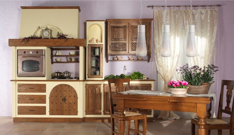 cucina legno muratura