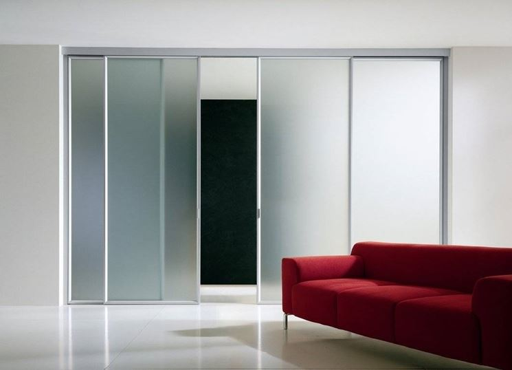 Porta scorrevole in vetro moderna
