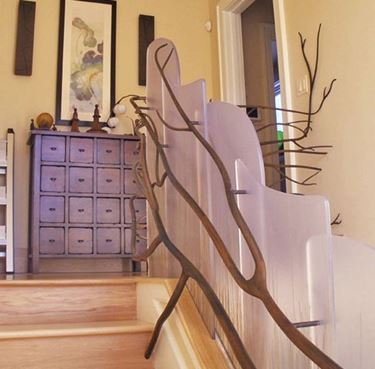 Ringhiera per interni in legno