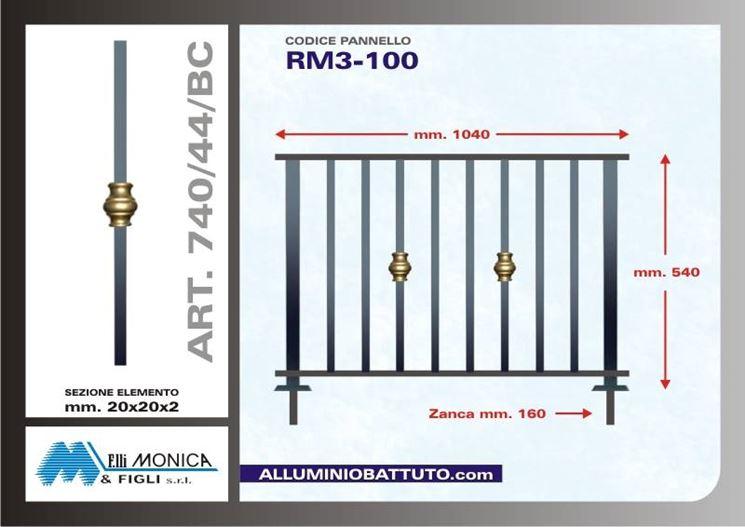 Misurazioni della ringhiera che andaranno a incidere con il prezzo  Fonte : http://www.alluminiobattuto.com/
