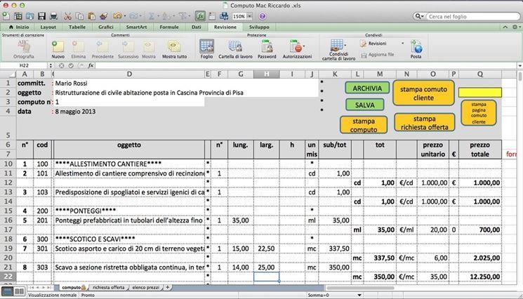 Fare il computo metrico estimativo il catasto la stima for Computo metrico estimativo excel