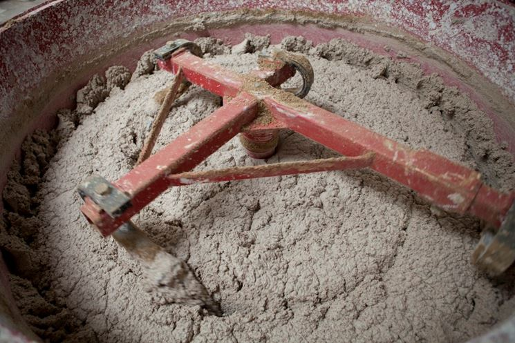 Preparazione della malta in betoniera
