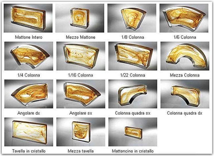 Varie forme di mattoni in vetrocemento