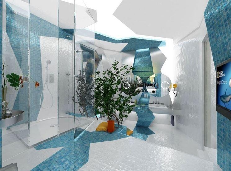 Bagno con rivestimento in mosaico