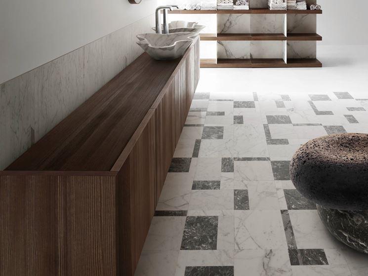 pavimento MOTION in marmo bianco Calacatta e color Ebano di Kreoo S.r.l.