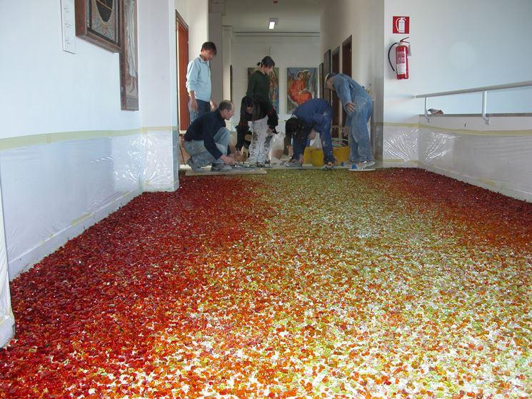 Posa pavimento in graniglia