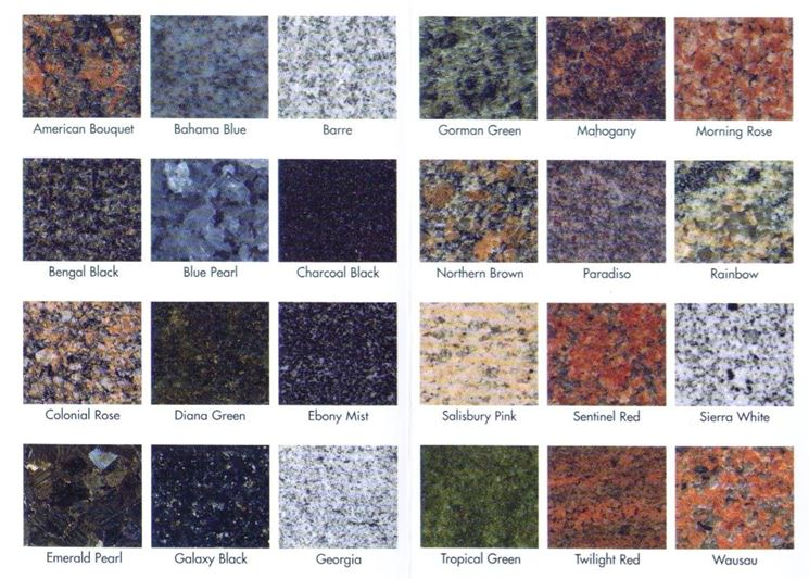 Alcune tipologie di granito
