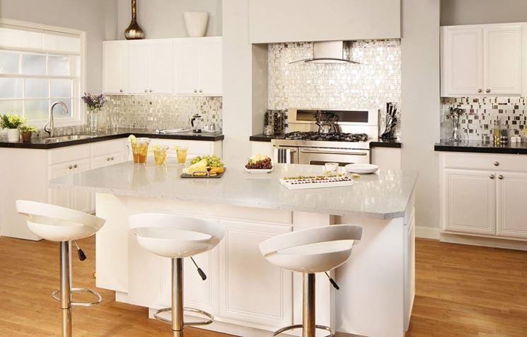Piastrelle per pavimenti interni pavimento da interni - Cucina a elle con isola ...