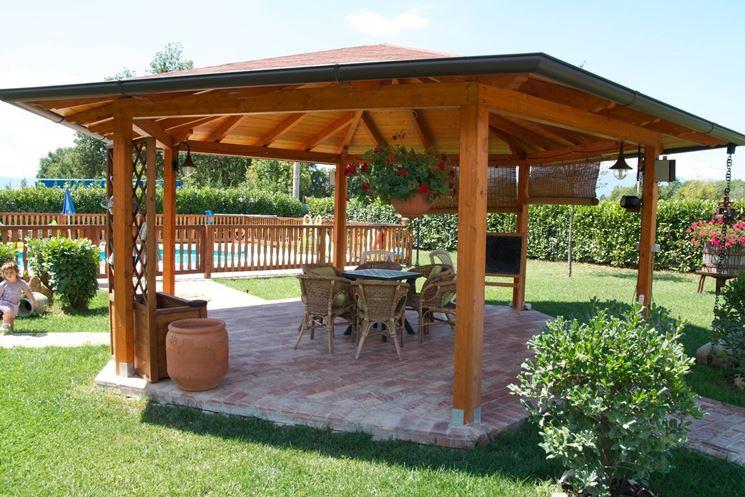 Terrazzi In Legno. Latest Gazebo Con Tenda Da Sole With Terrazzi In ...