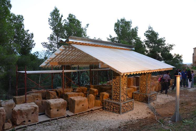 padiglione in legno e vetroresina