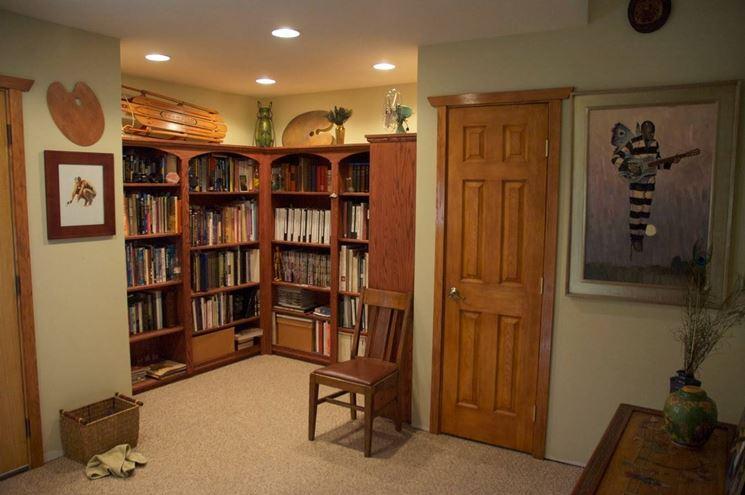 Libreria in cartongesso ad angolo