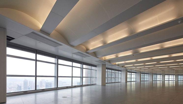 I pannelli radianti a soffitto usano le stesse tubature per la climatizzazione estiva ed invernale