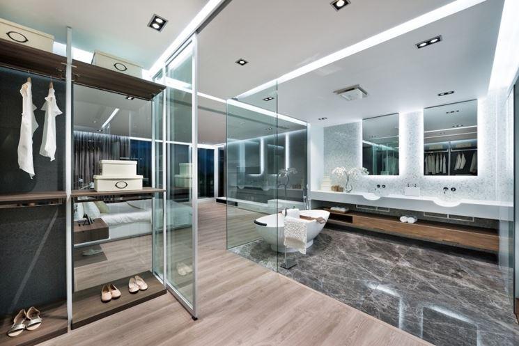 Parete in vetro pavimento-soffitto.
