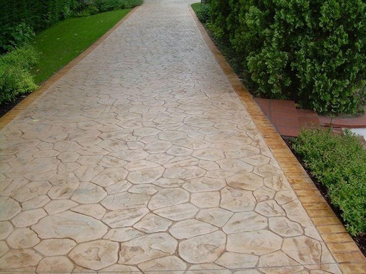 Calcestruzzo utilizzato per un viale in giardino